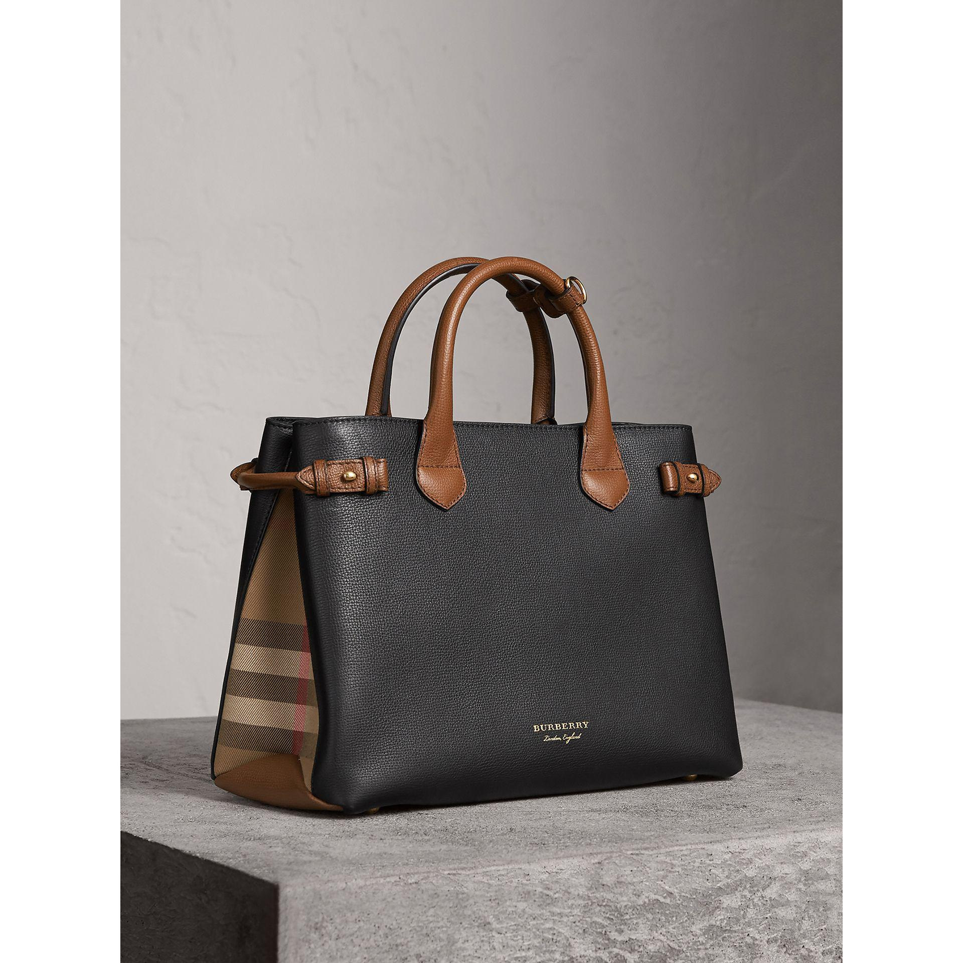 bd995972649 Burberry The Medium Banner In Two Tone Leather | in Black - Lyst