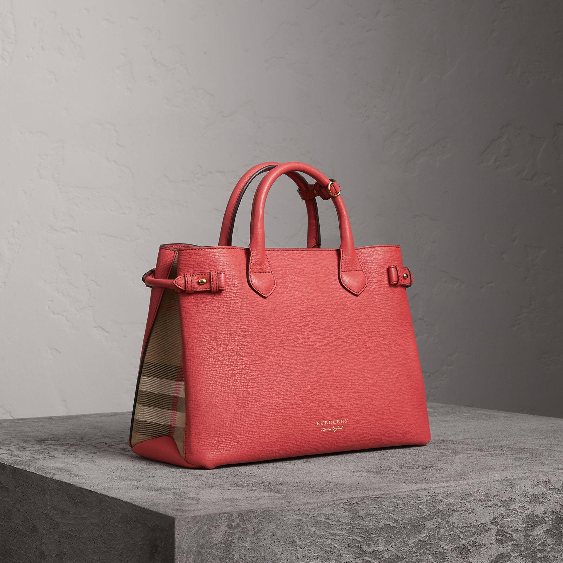 703a788ba6d8 Burberry The Medium Banner In Leather And House Check Cinnamon Red ...
