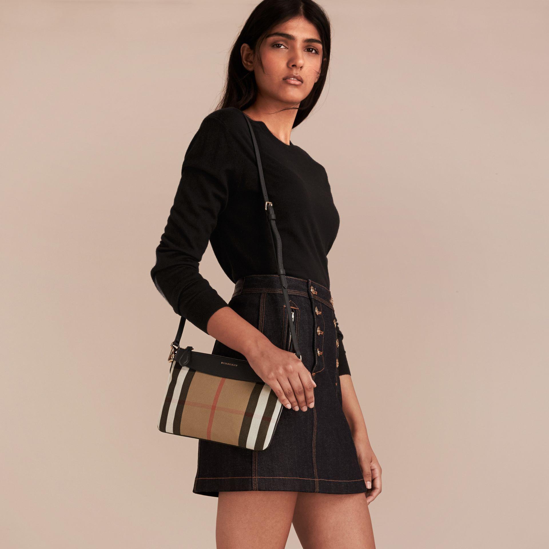 Lyst - Burberry House Check And Leather Clutch Bag in Black becc513e4acb5