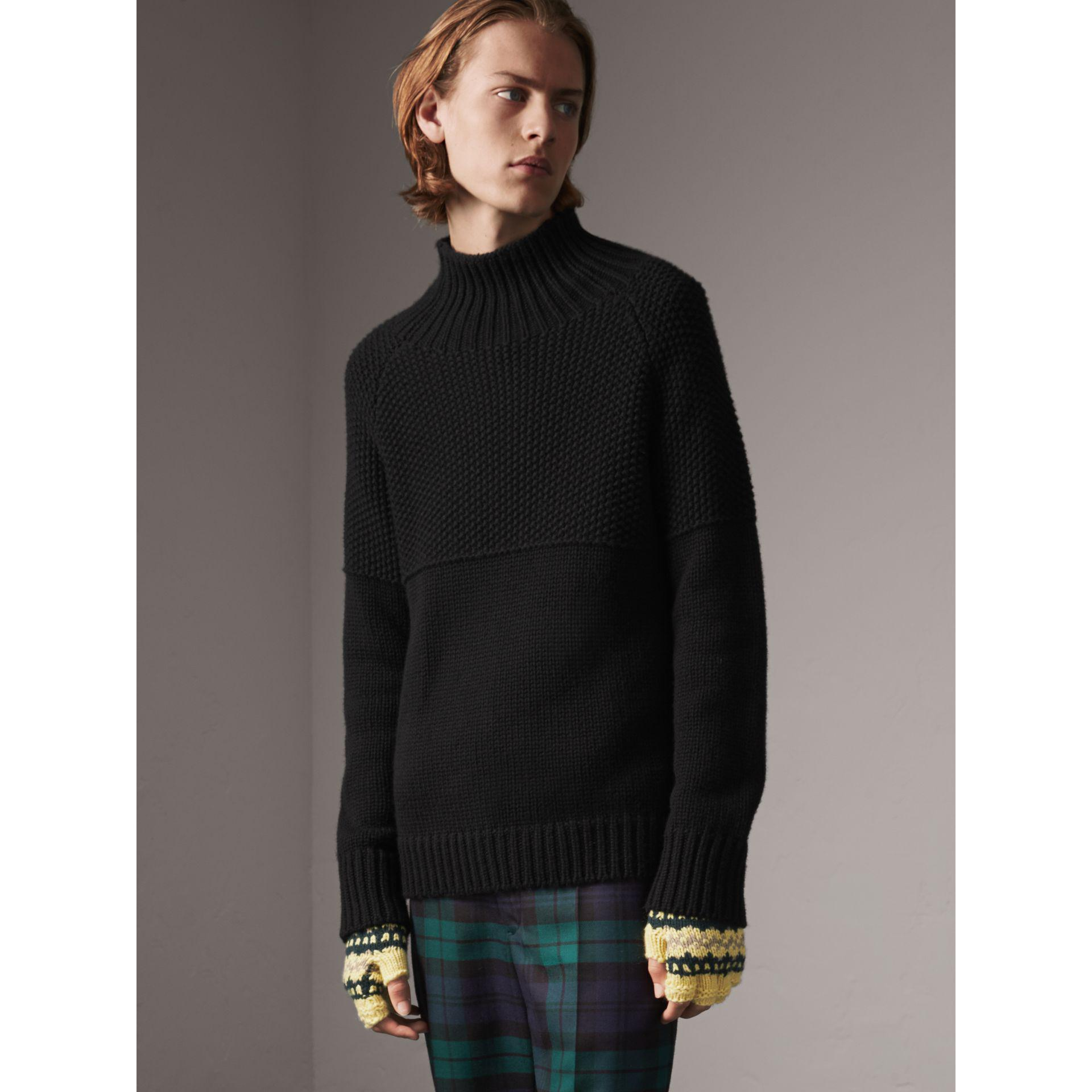Lyst - Burberry Cashmere Fisherman Sweater in Black for Men