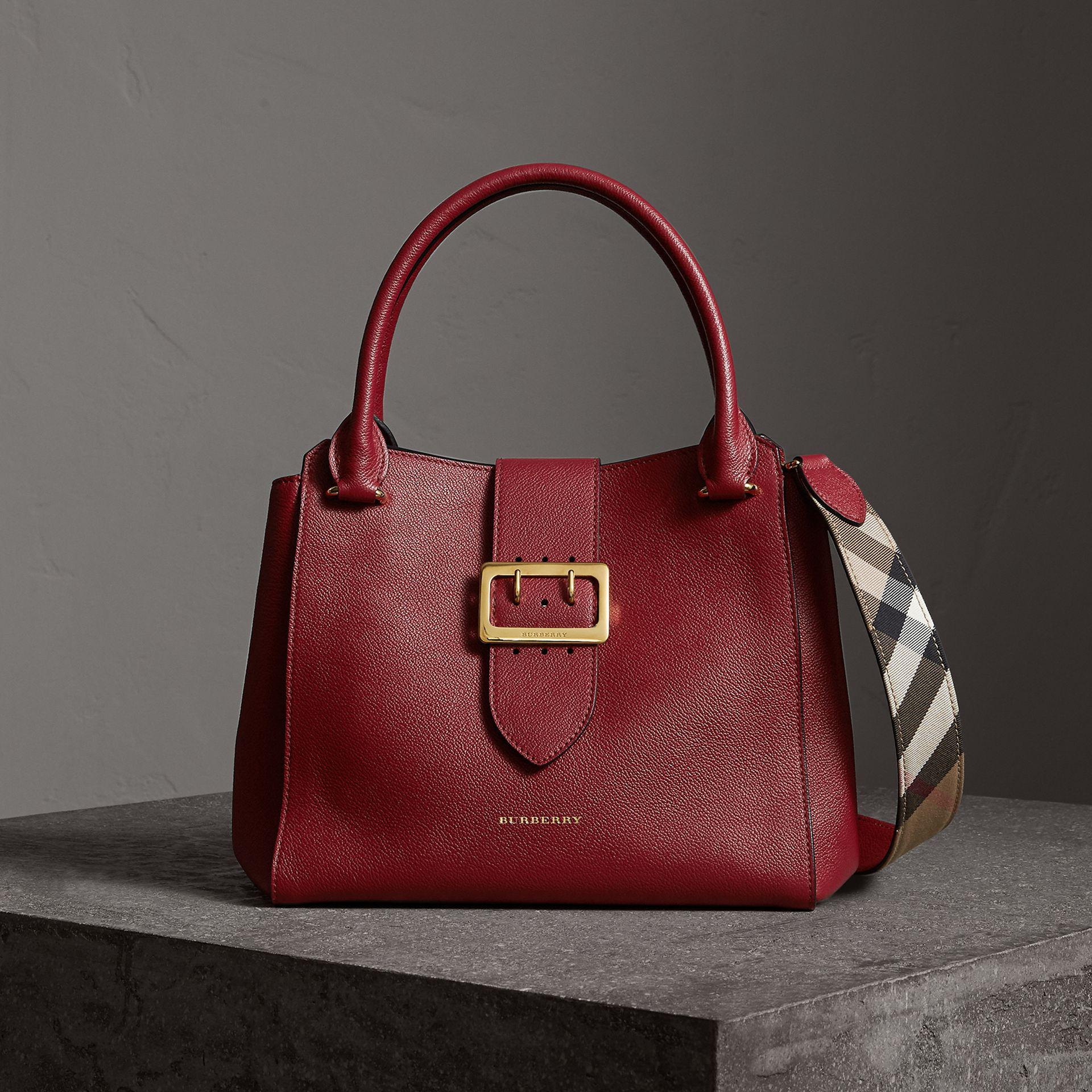 cd331c540886 Lyst - Burberry The Medium Buckle Tote In Grainy Leather Parade Red ...