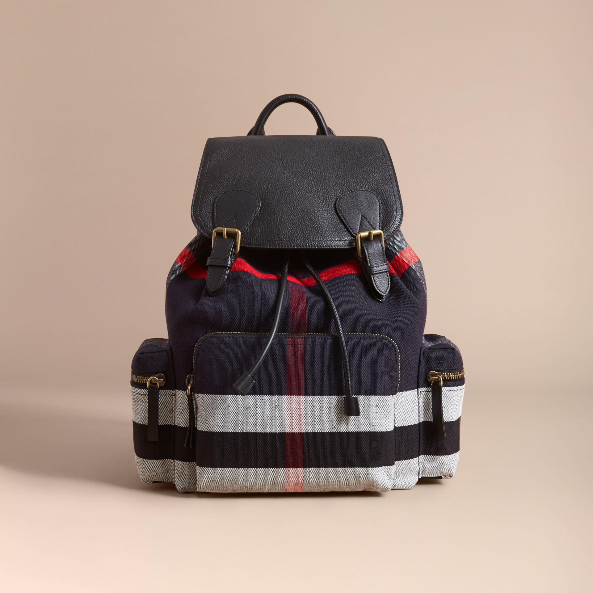 903382a47b29 Lyst - Burberry The Large Rucksack In Canvas Check And Leather Black ...