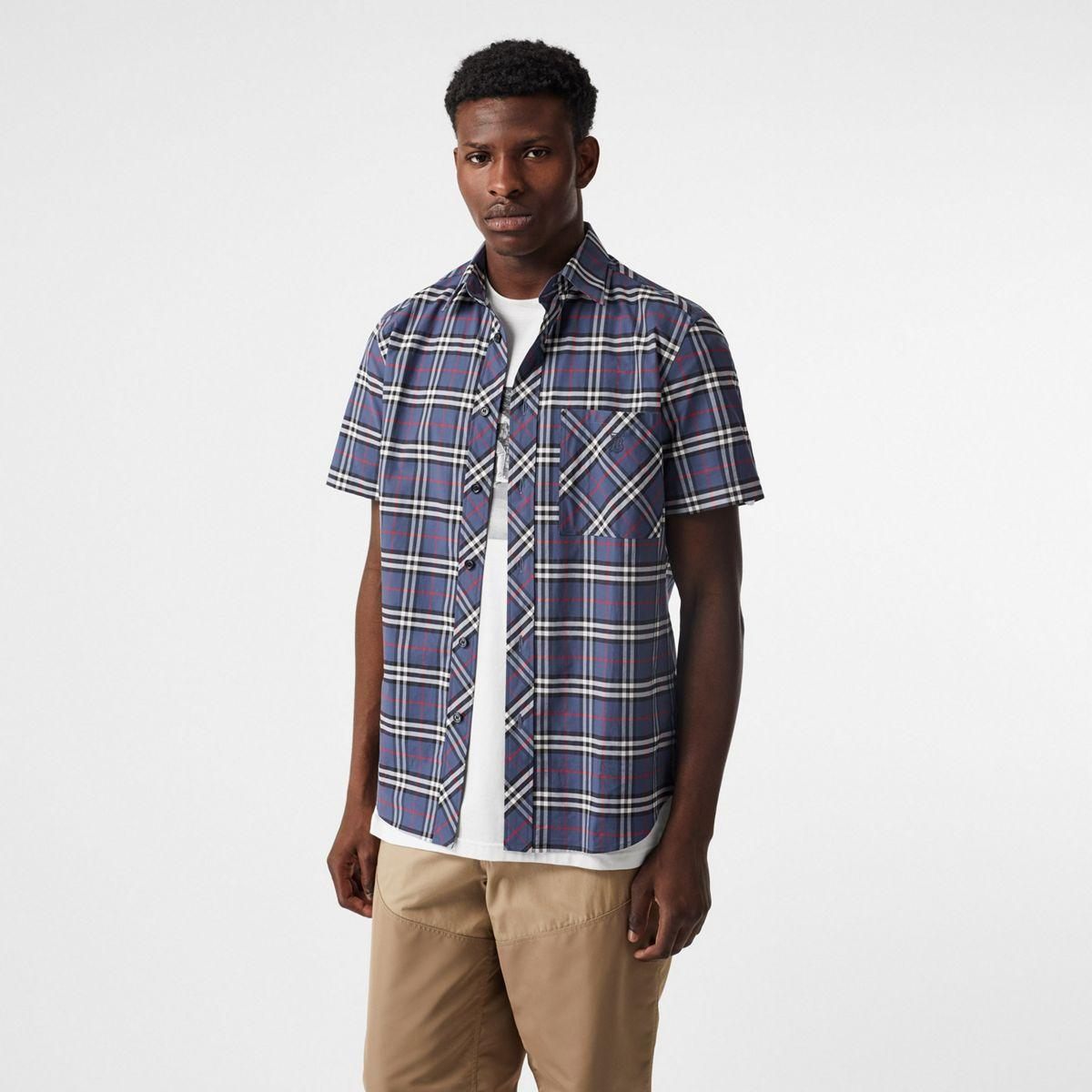 b501d562 Lyst - Burberry Short-sleeve Small Scale Check Stretch Cotton Shirt ...