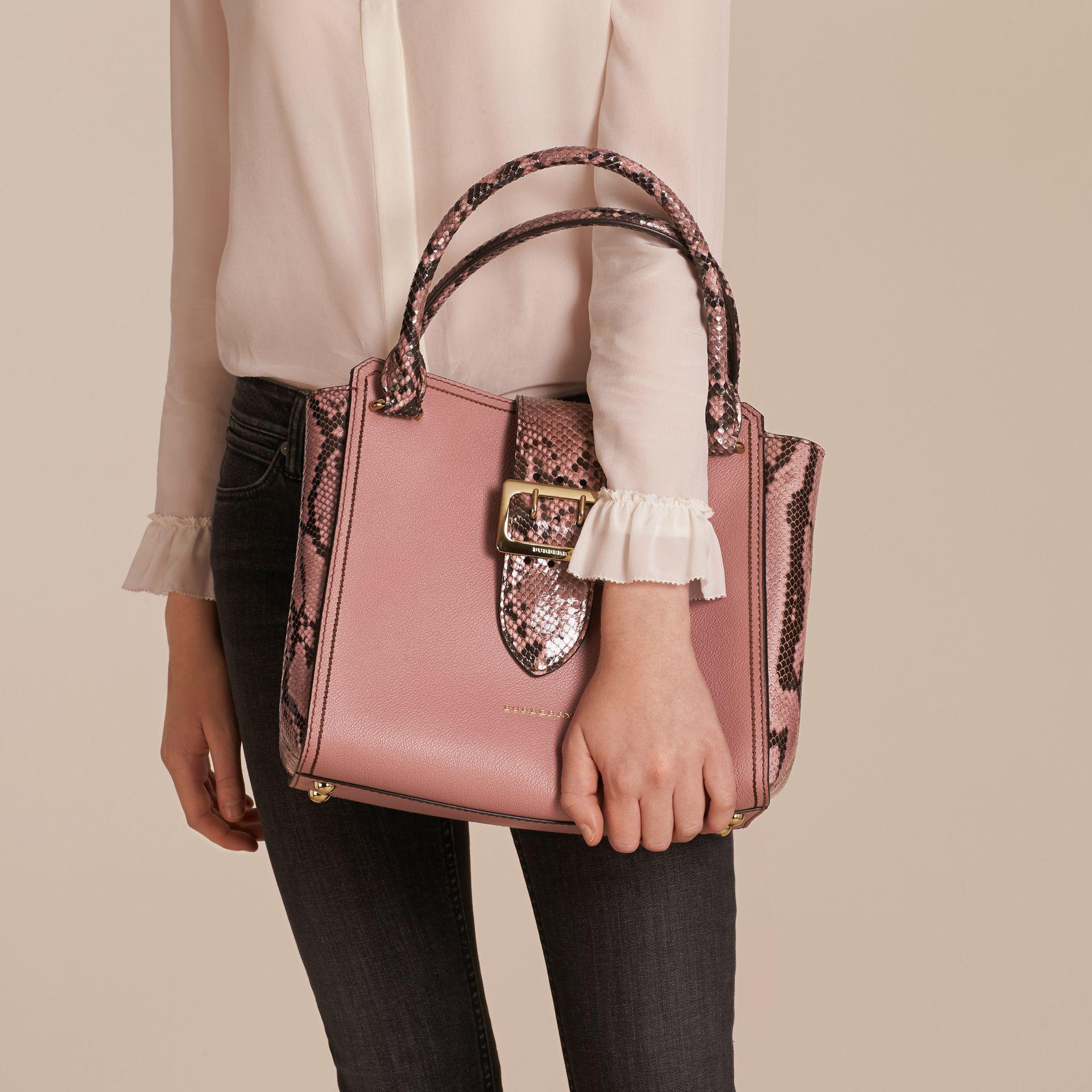 fc377e9dcf7c Lyst - Burberry The Medium Buckle Tote In Grainy Leather And Python