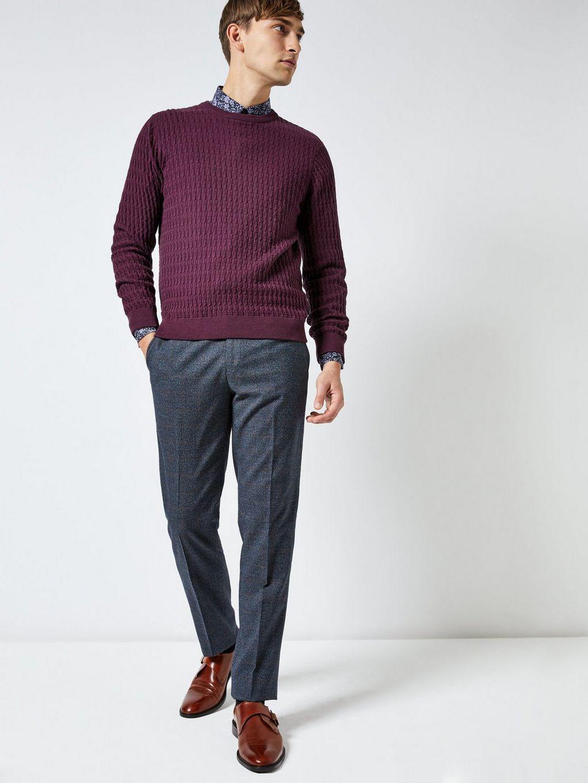 c2ce6acd22eee Burton 1904 Huntley Dark Grey Check Slim Fit Suit Trousers in Blue ...