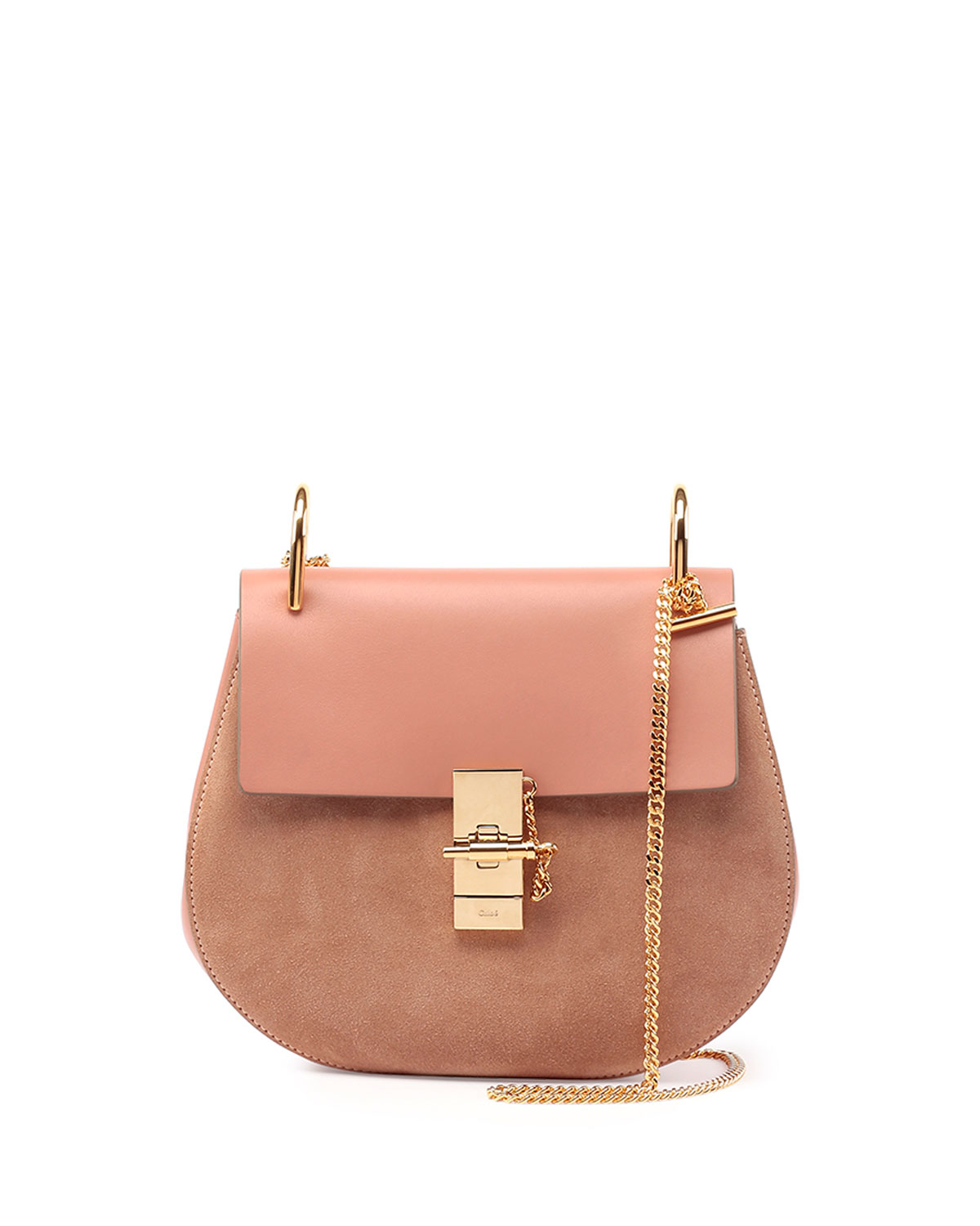 Chlo�� Drew Leather and Suede Shoulder Bag in Pink (ROSE) | Lyst