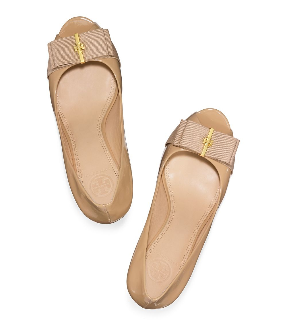 d7a872bae50b Lyst - Tory Burch Trudy Patent Open-Toe High Wedge in Natural