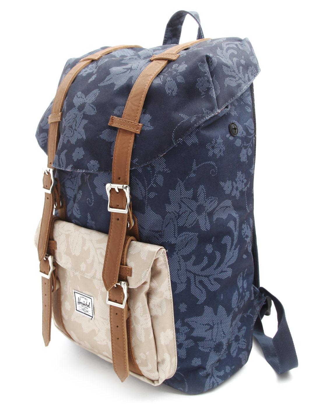 herschel supply co little america mid volume blue and beige flower print backpack in blue for. Black Bedroom Furniture Sets. Home Design Ideas