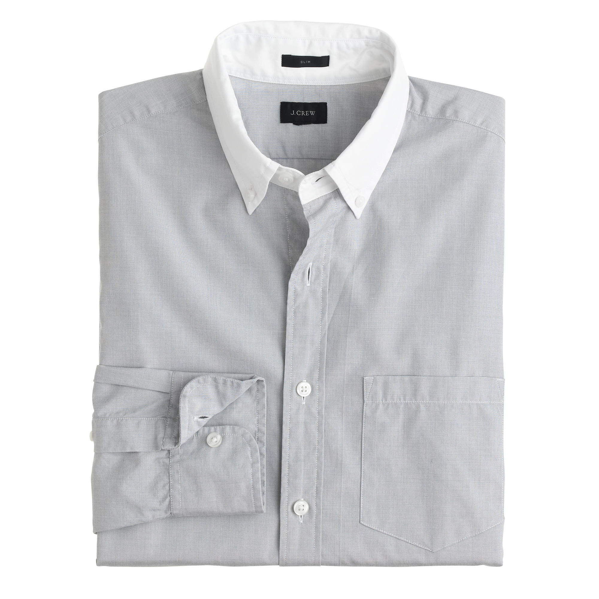 secret wash white collar shirt in end on end cotton