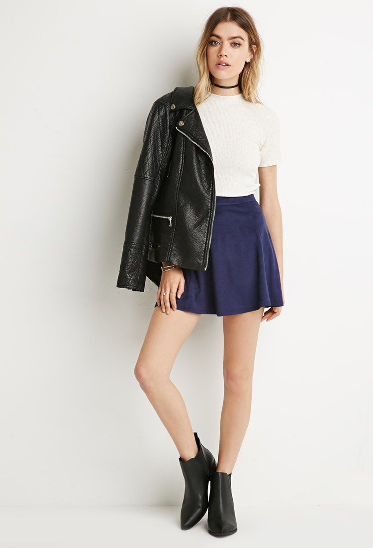 Forever 21 Faux Suede Skater Skirt in Blue | Lyst