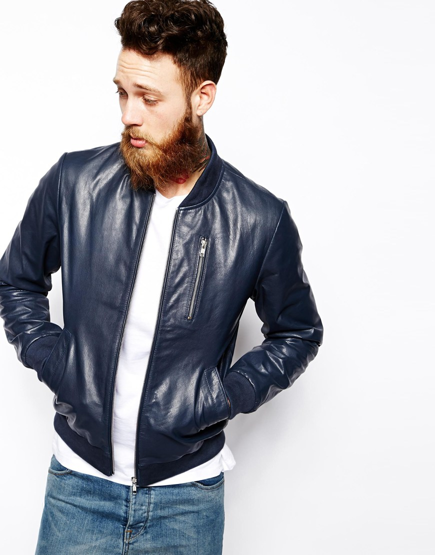Asos Leather Bomber Jacket in Blue for Men | Lyst