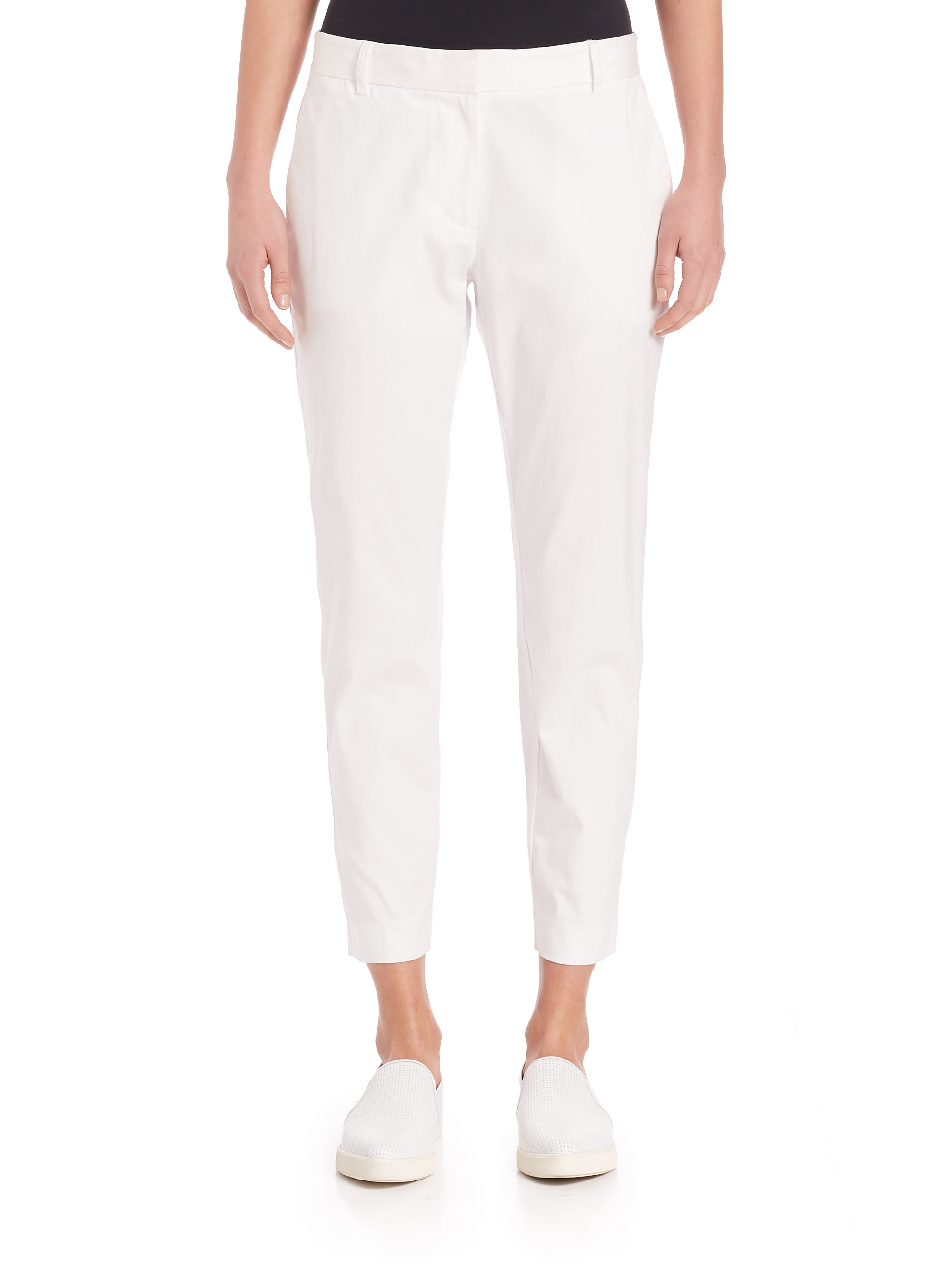 Dkny Solid Cropped Pants in White | Lyst
