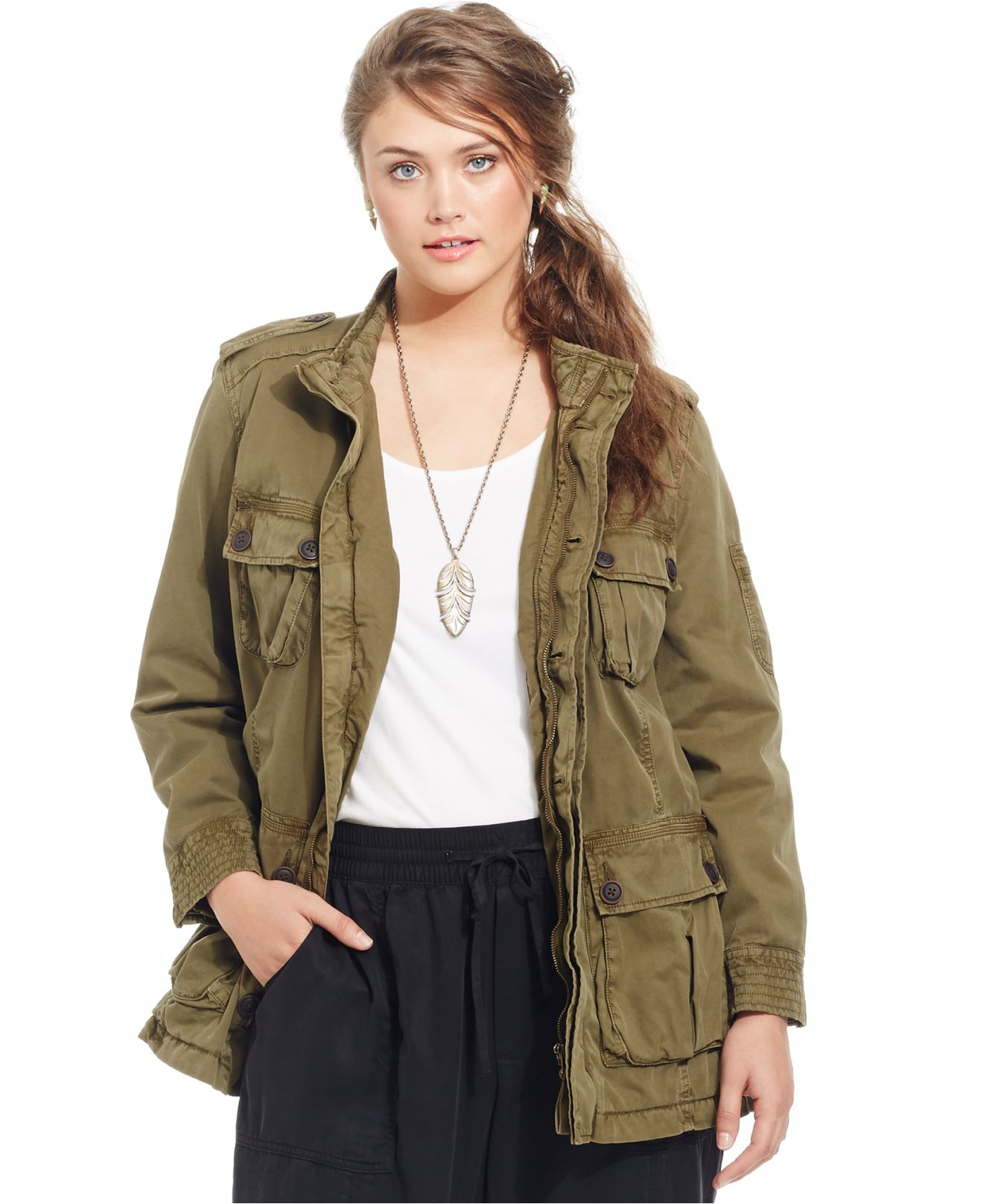 edcecab4ab6 Lyst - Lucky Brand Lucky Brand Plus Size Military Anorak Jacket in Green