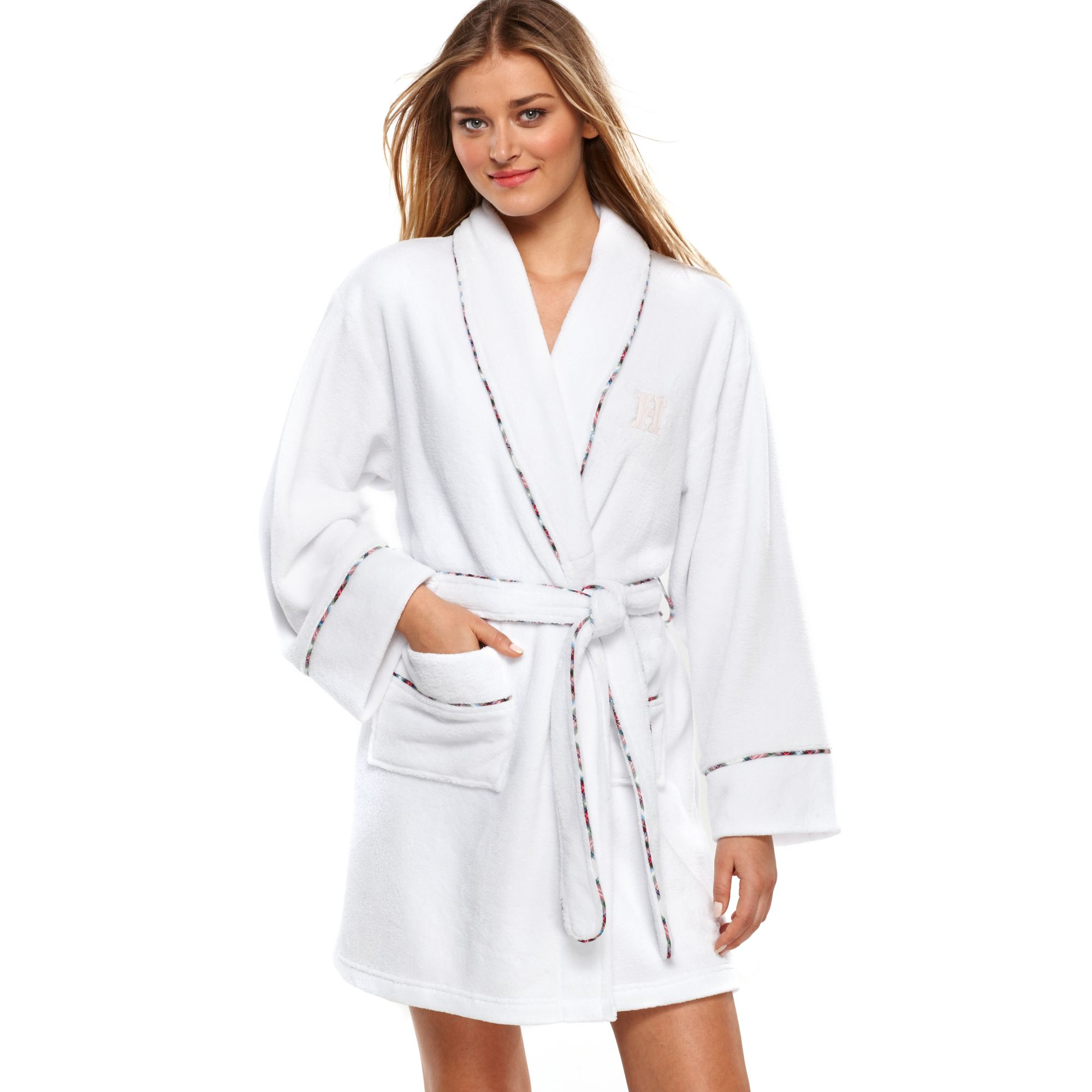 tommy hilfiger super soft short robe in white lyst With tommy hilfiger robe