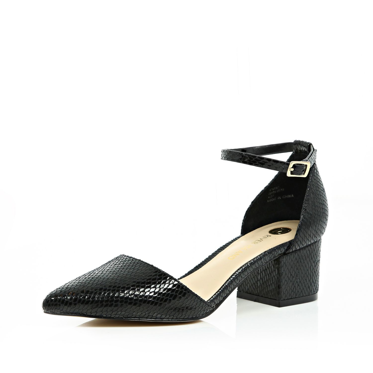 a5e575948e5 River Island Black Block Heel Pointed Shoes in Black - Lyst