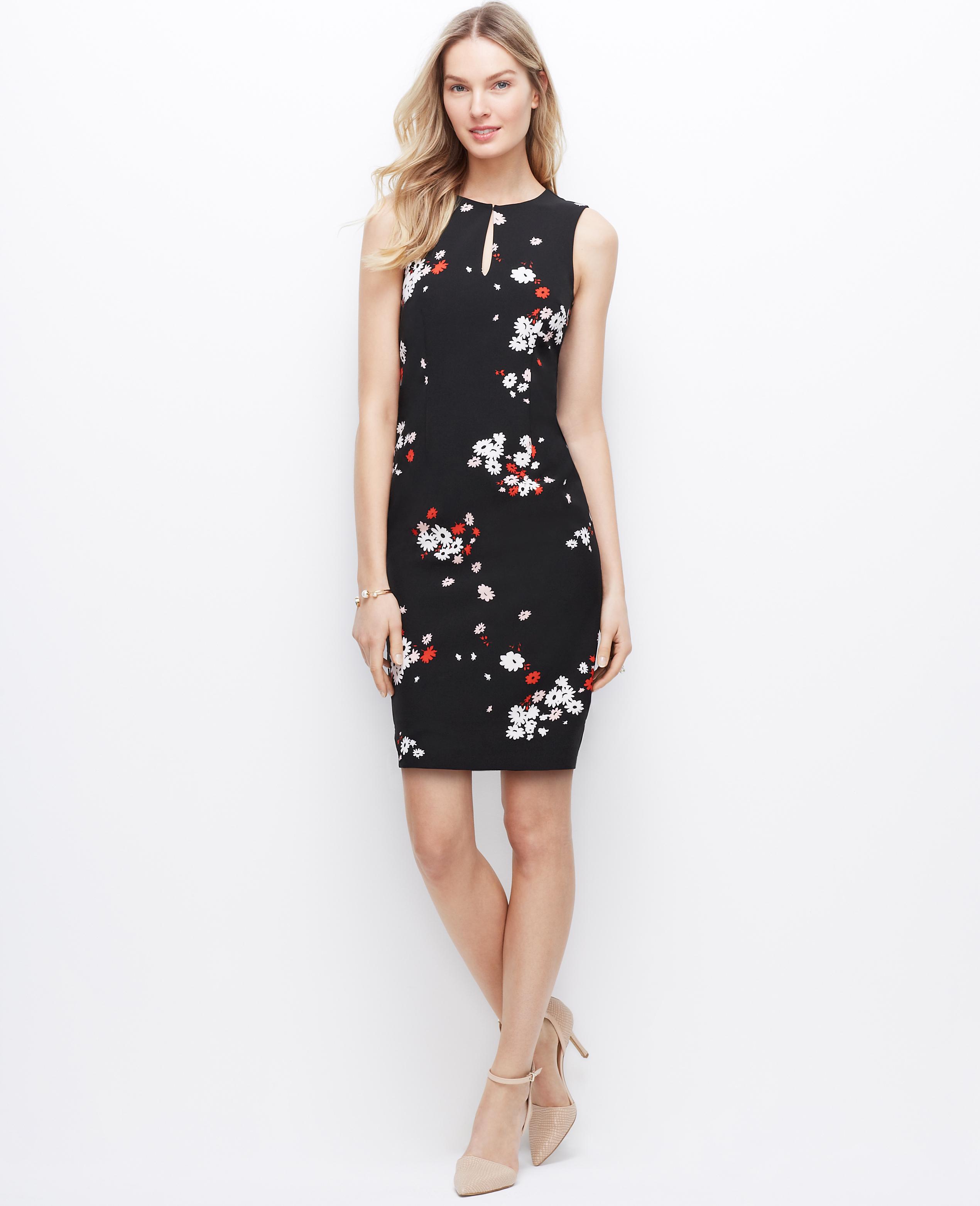 Lyst - Ann Taylor Floral Keyhole Sheath Dress in Black