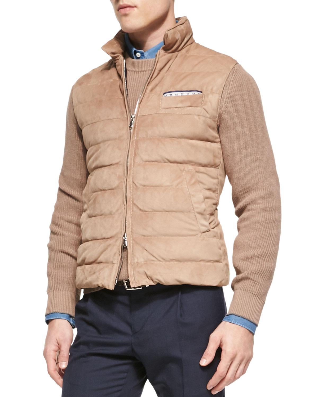 Brunello Cucinelli Suede Zip Up Down Vest In Brown For Men