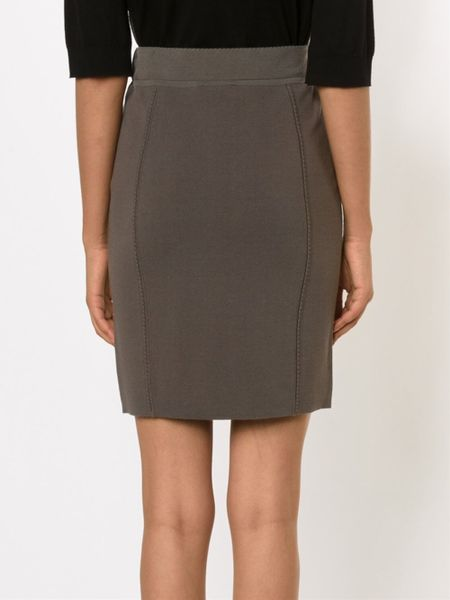 theory high waisted pencil skirt in gray grey