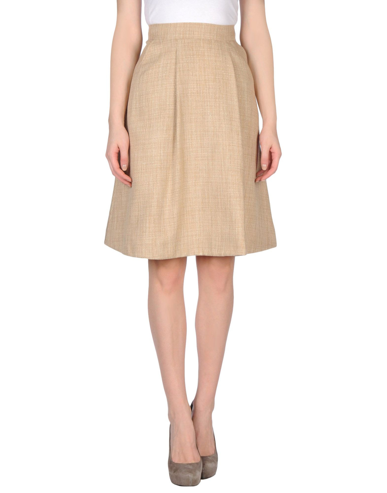 maurizio pecoraro knee length skirt in beige save 80 lyst
