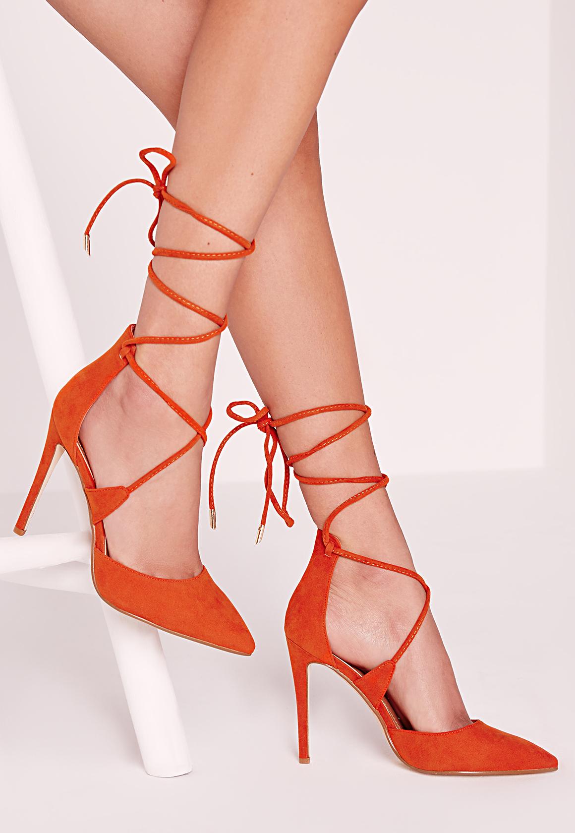 76e2b7e6d0d Lyst - Missguided Lace Up Court Shoes Orange in Orange