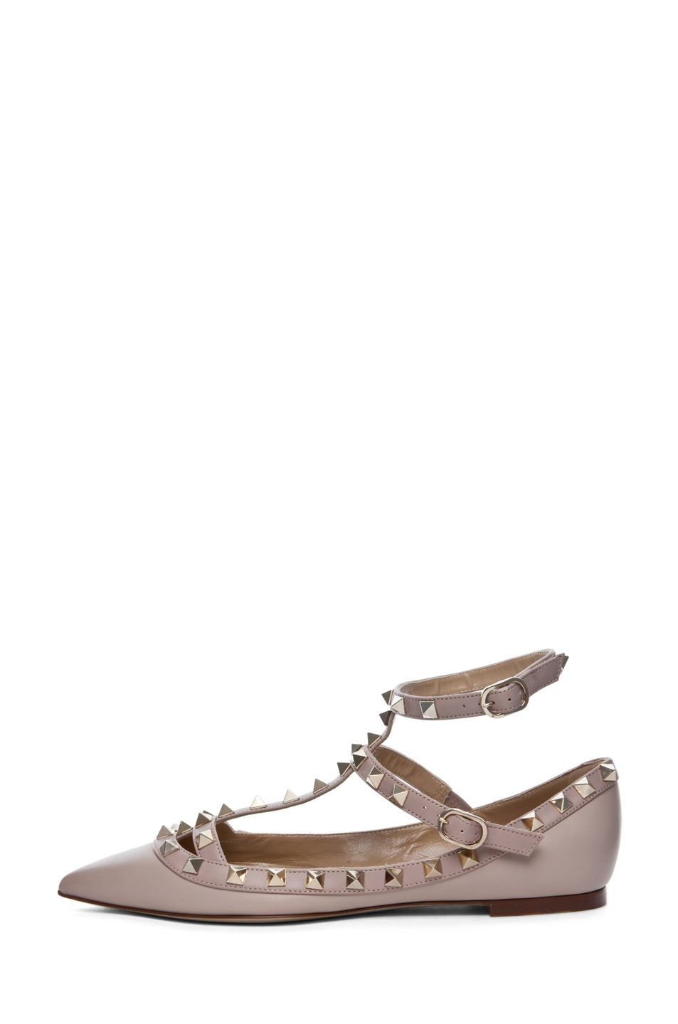 valentino rockstud ballerina flat in powder in beige powder lyst. Black Bedroom Furniture Sets. Home Design Ideas