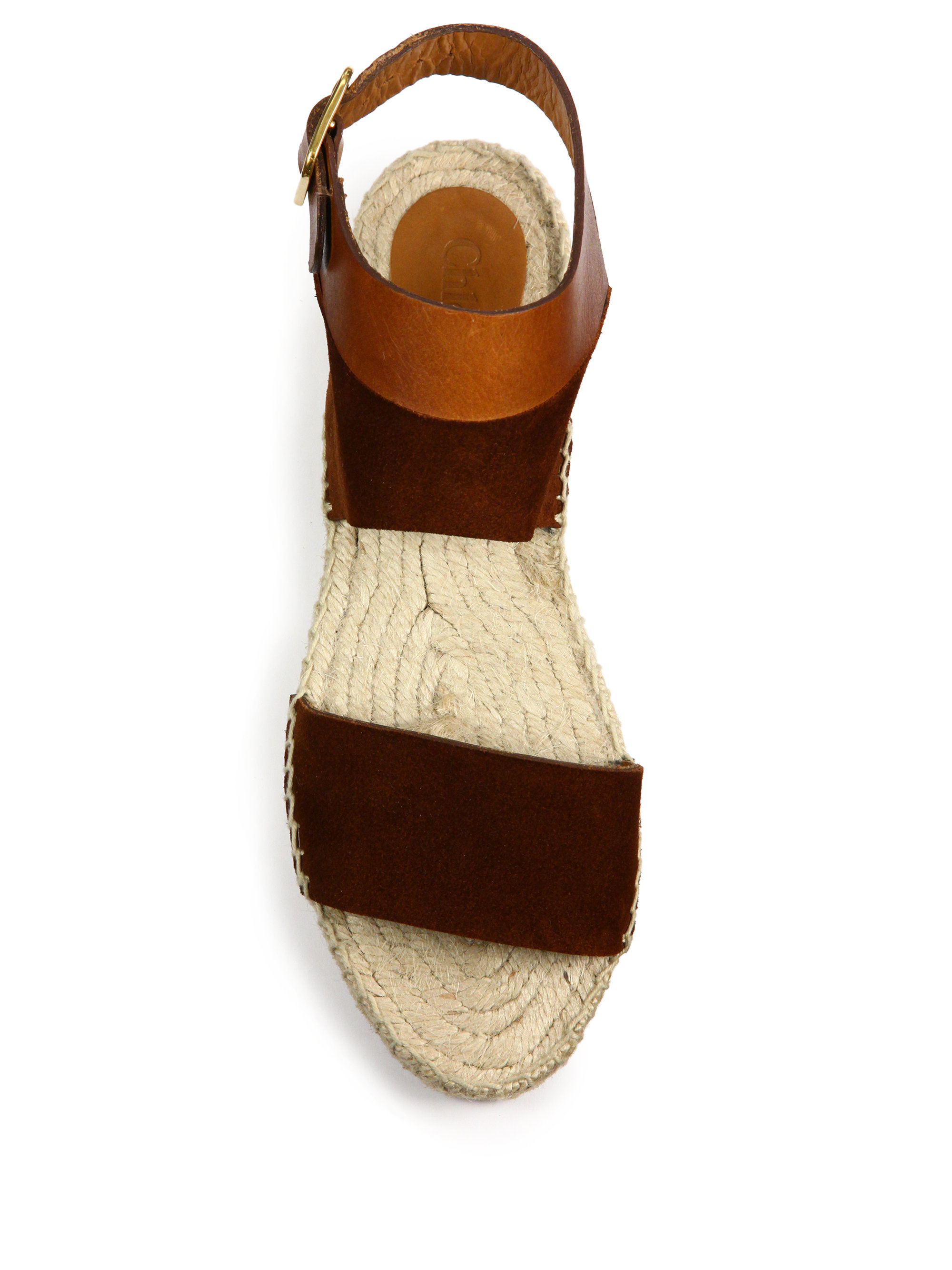 Lyst Chlo 233 Suede Amp Leather Espadrille Flat Sandals In Brown