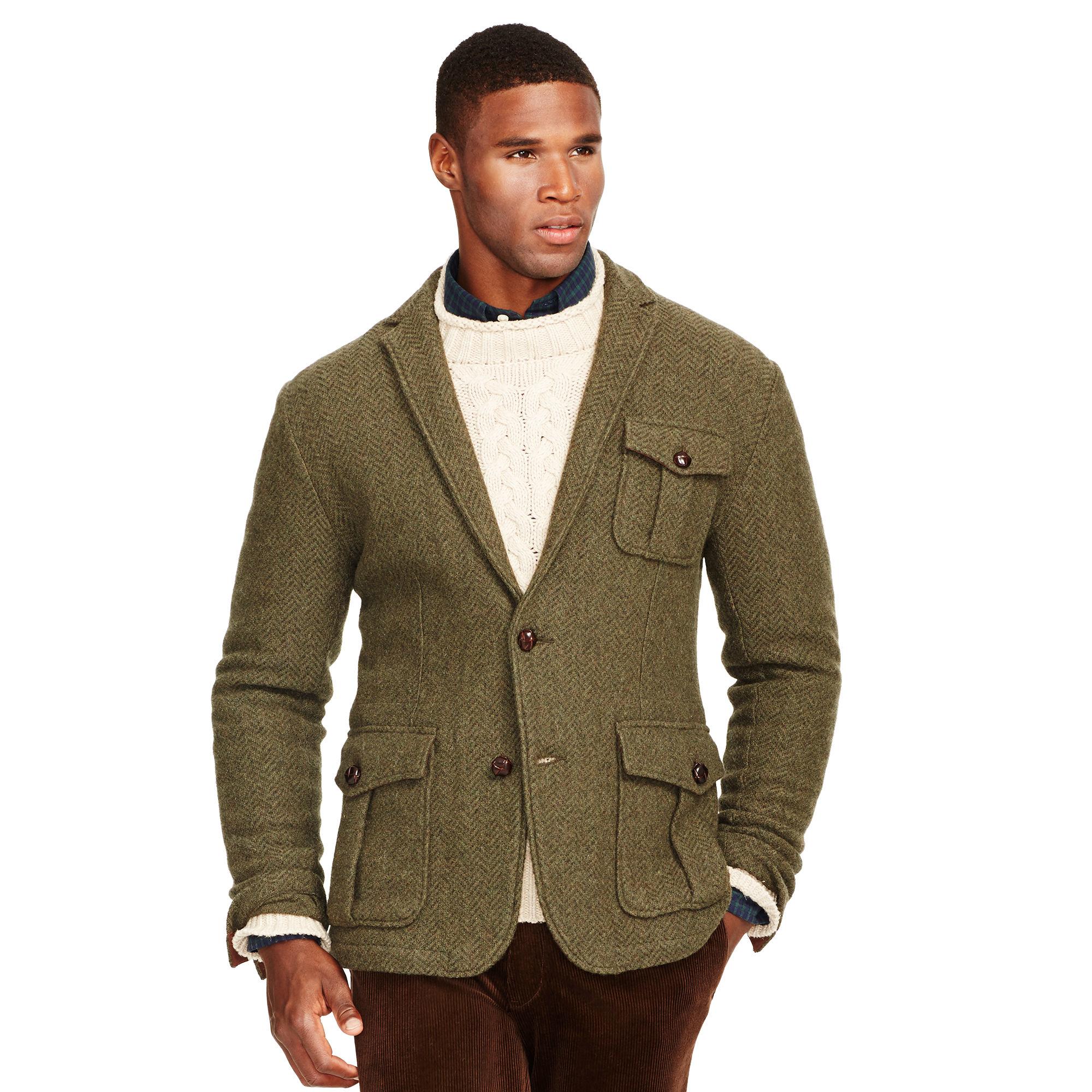 38bdc332681b Polo Ralph Lauren Herringbone Wool Blazer in Green for Men - Lyst