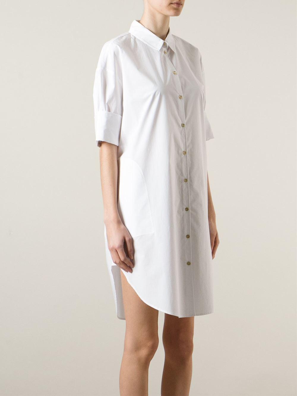 acne studios 39 lash 39 shirt dress in white lyst