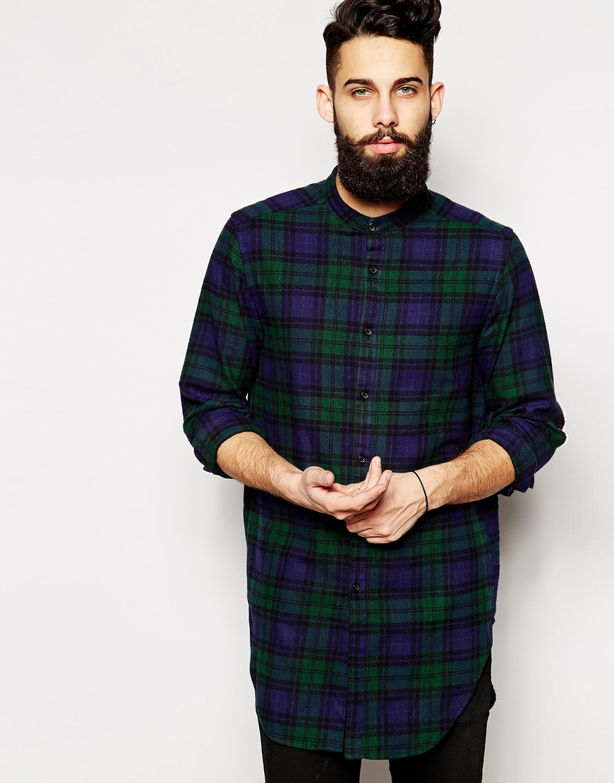 Lyst asos longline shirt in long sleeve with black watch for Black and blue long sleeve shirt