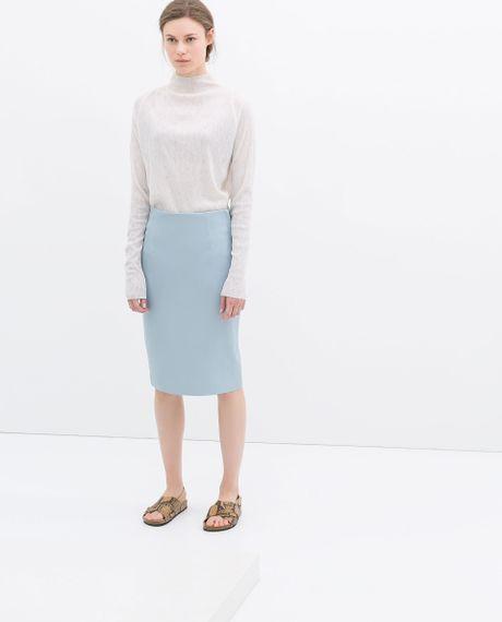 zara faux leather skirt in blue sky blue lyst