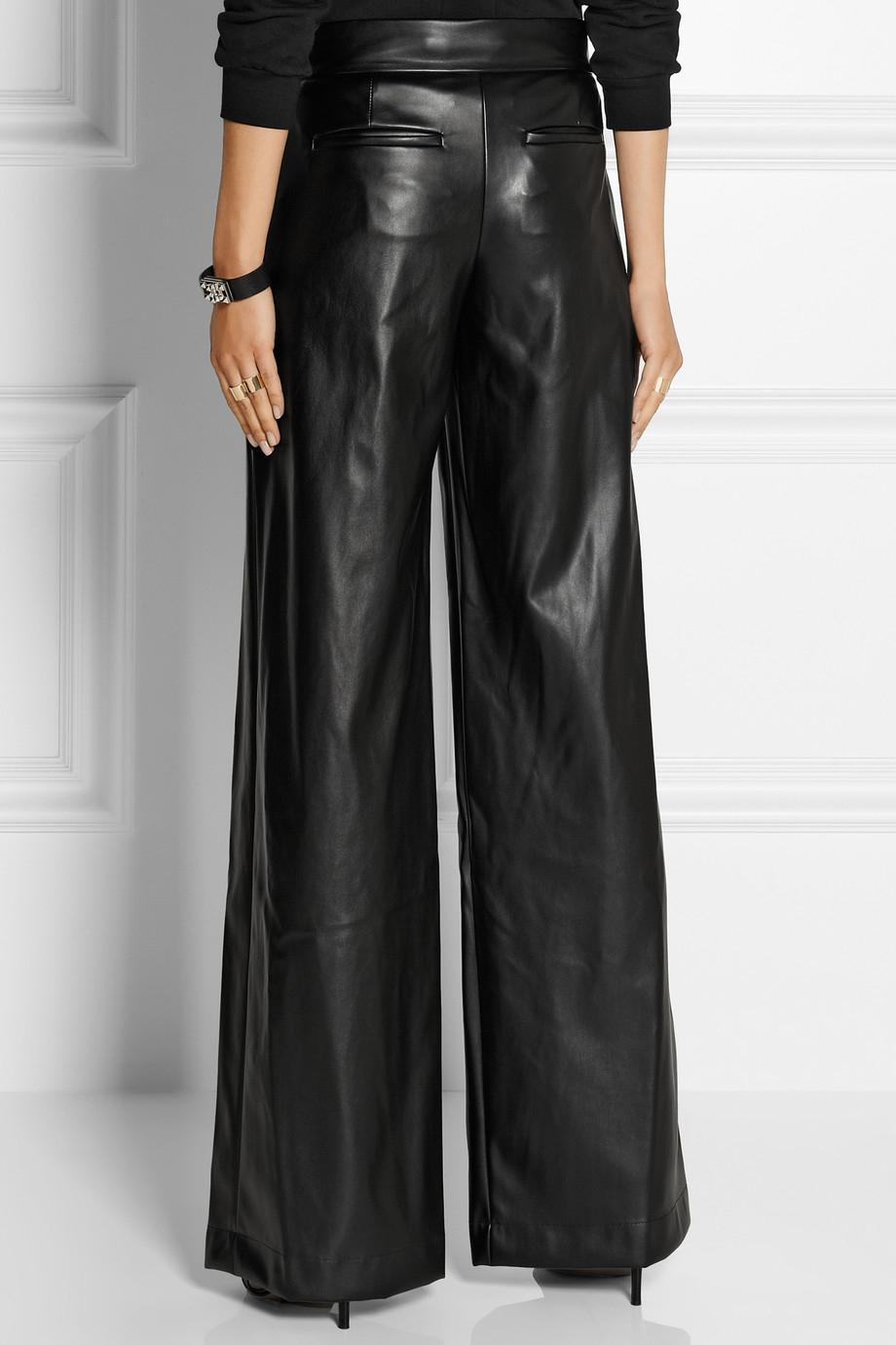 Lyst Dkny Faux Leather Wide Leg Pants In Black