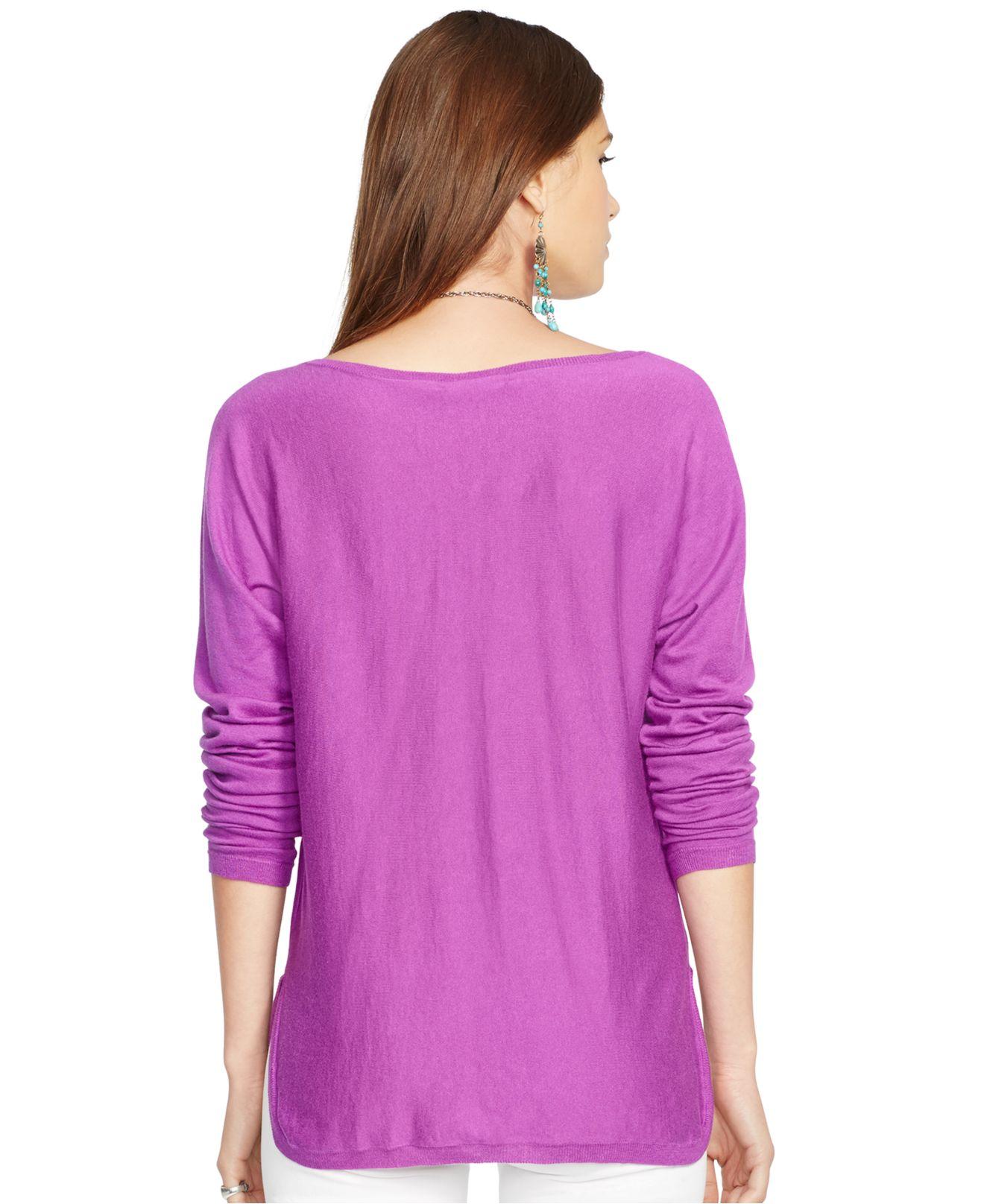Polo ralph lauren Dolman-Sleeve Merino Wool Sweater in Purple | Lyst