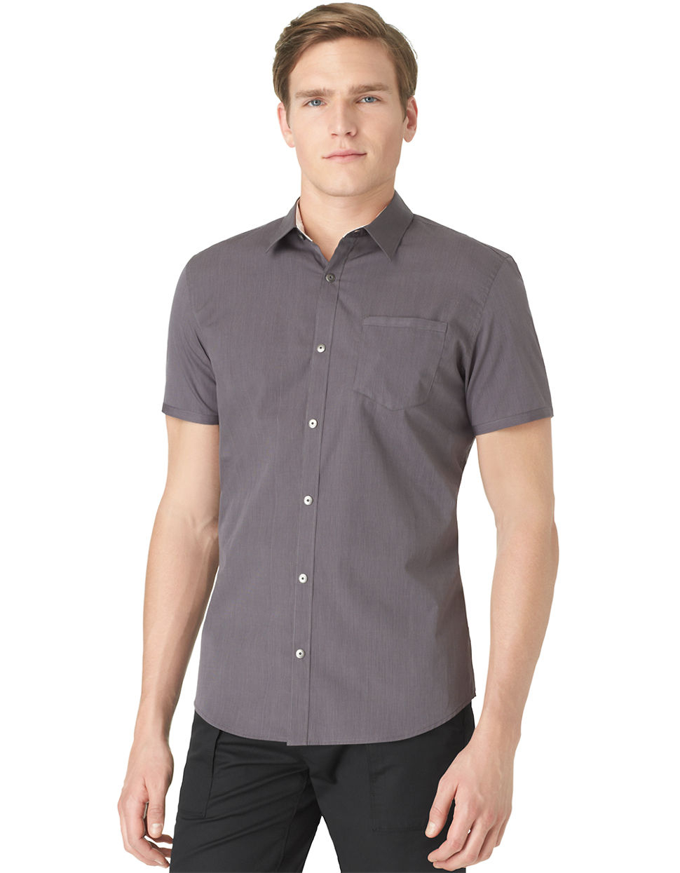 calvin klein slim fit poplin fine stripe sportshirt in gray for men. Black Bedroom Furniture Sets. Home Design Ideas