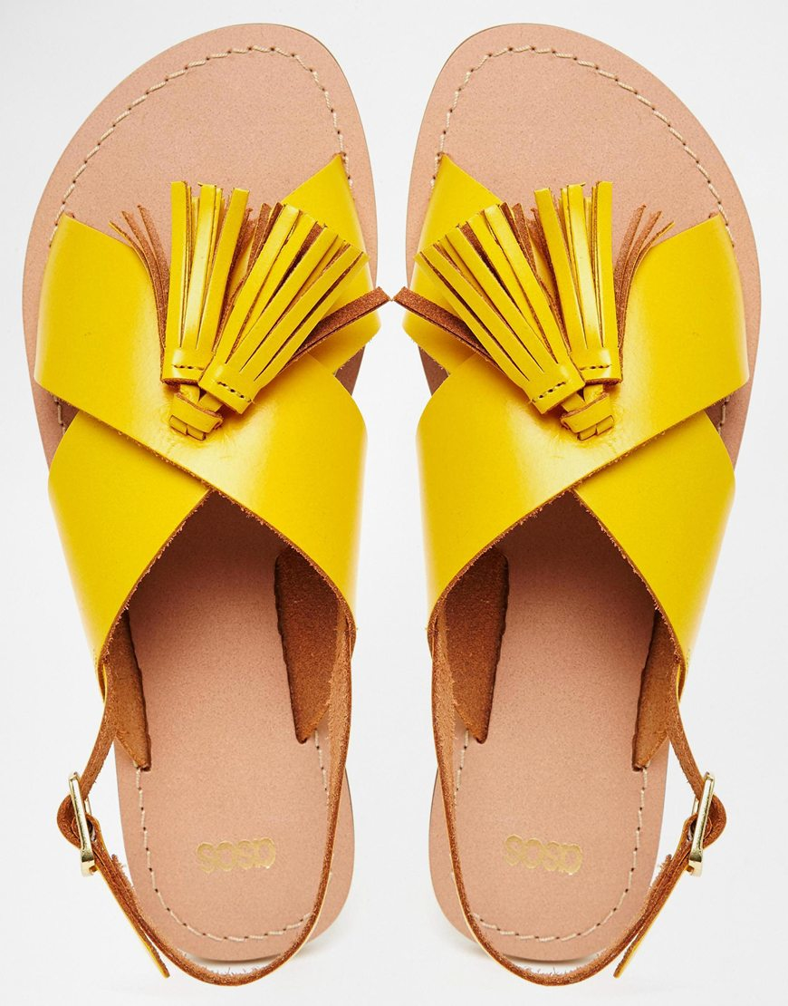 e6191372b6d48 Lyst - ASOS Foxtrot Leather Tassel Sandals in Yellow