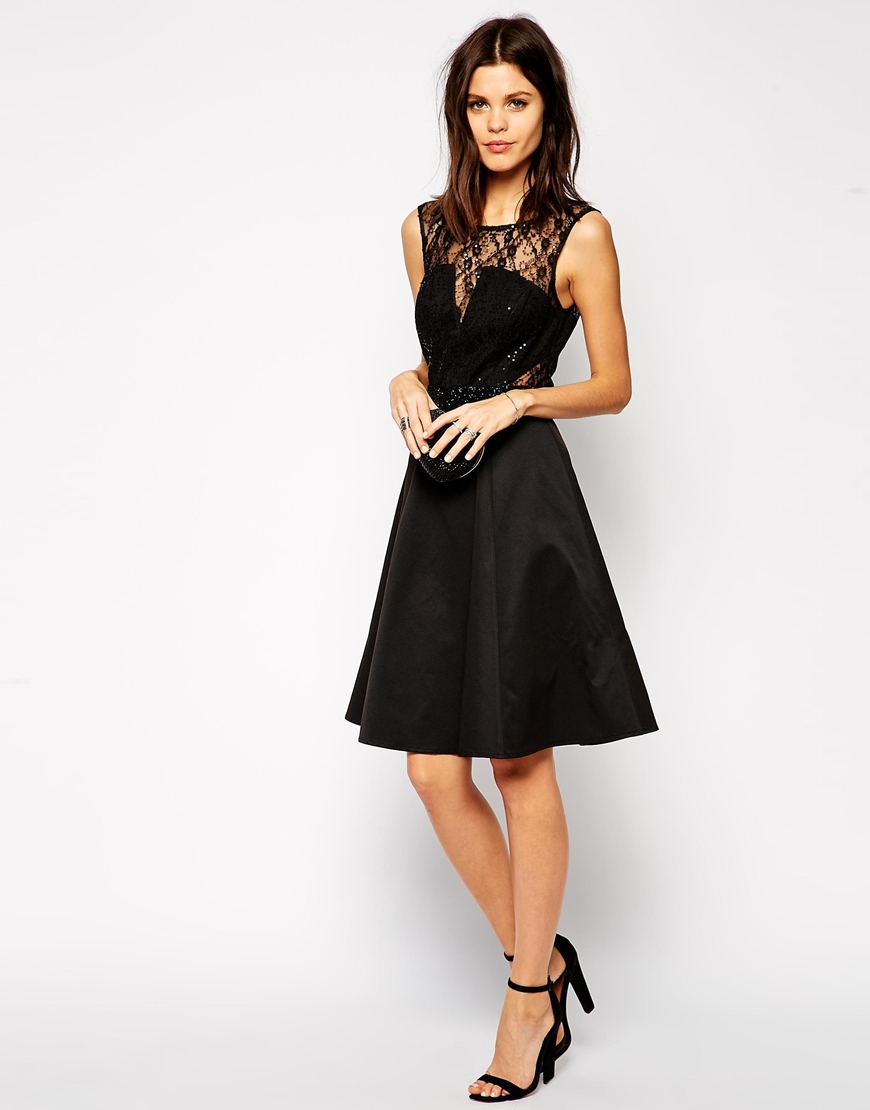 Lipsy Lace Midi Skater Dress With Embellished Waist In