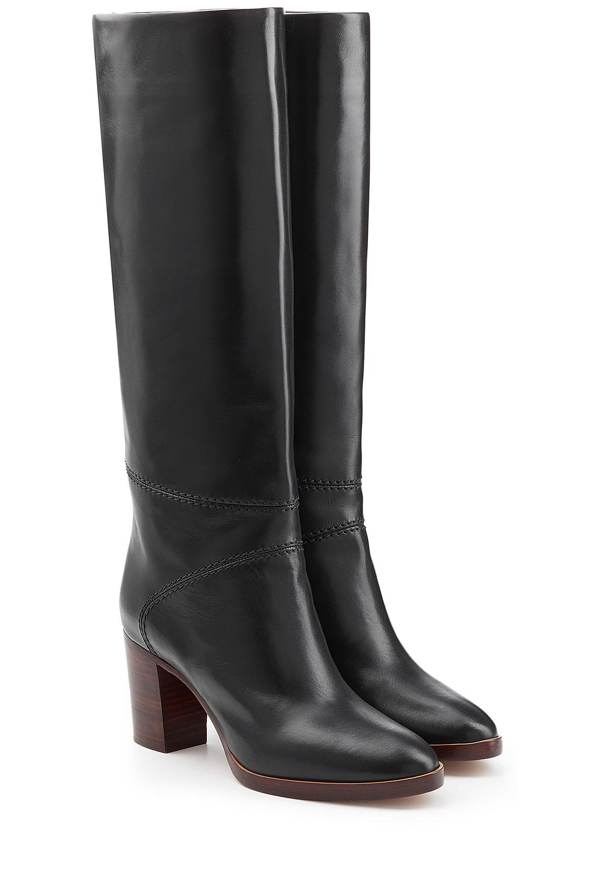 chlo chlo leather knee boots black in black lyst. Black Bedroom Furniture Sets. Home Design Ideas