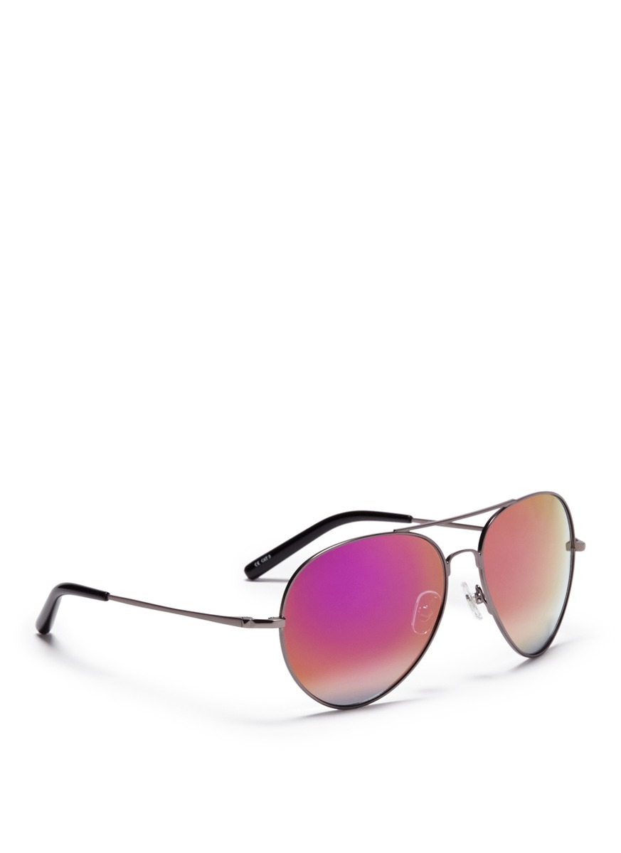 103851dfc Matthew Williamson X Linda Farrow Metal Mirror Aviator Sunglasses in ...