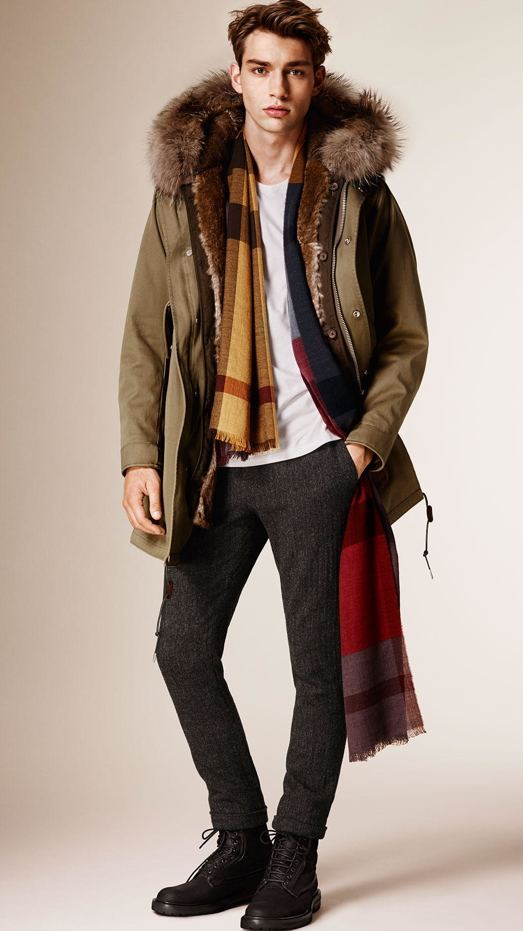 Gallery - Burberry Cotton Parka With Fur Lined Hood And Warmer In Green For