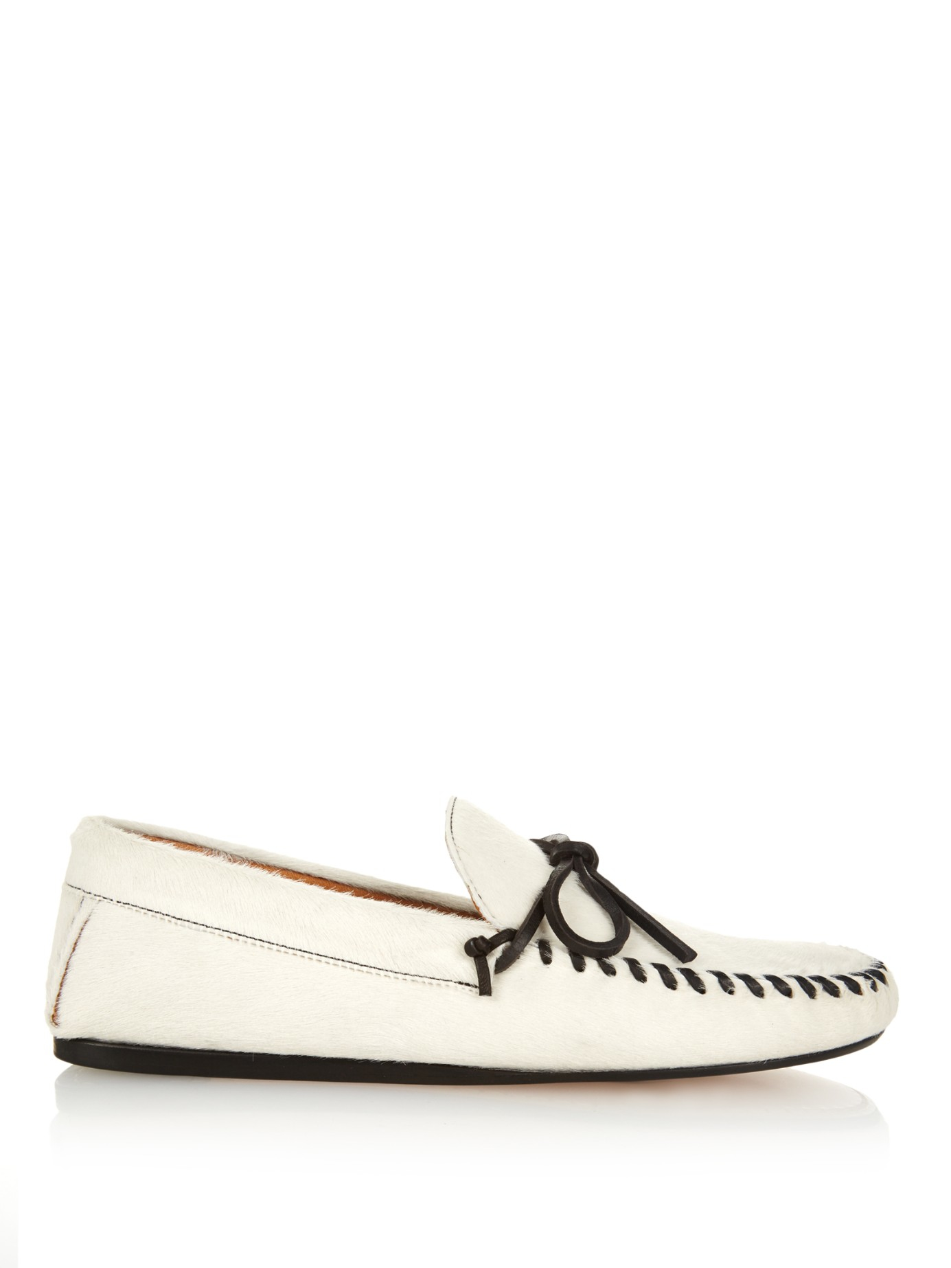 651aa03a96e Lyst - Isabel Marant Étoile Fodih Calf-Hair Moccasins in White