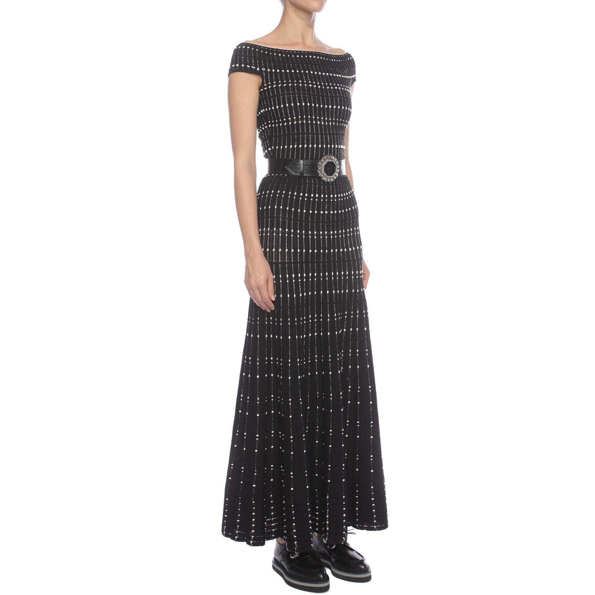 Alexander mcqueen Long Off Shoulder Knit Dress in Black  Lyst
