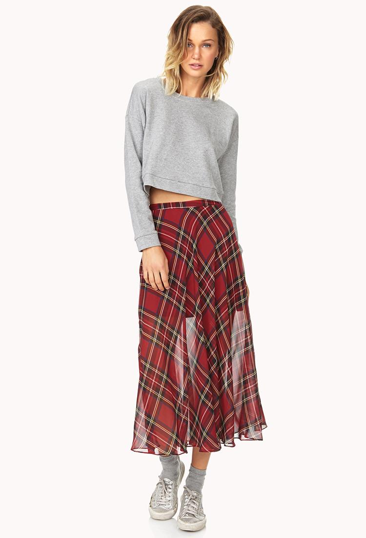 ef28831de Forever 21 Tartan Plaid Slit Maxi Skirt in Black - Lyst