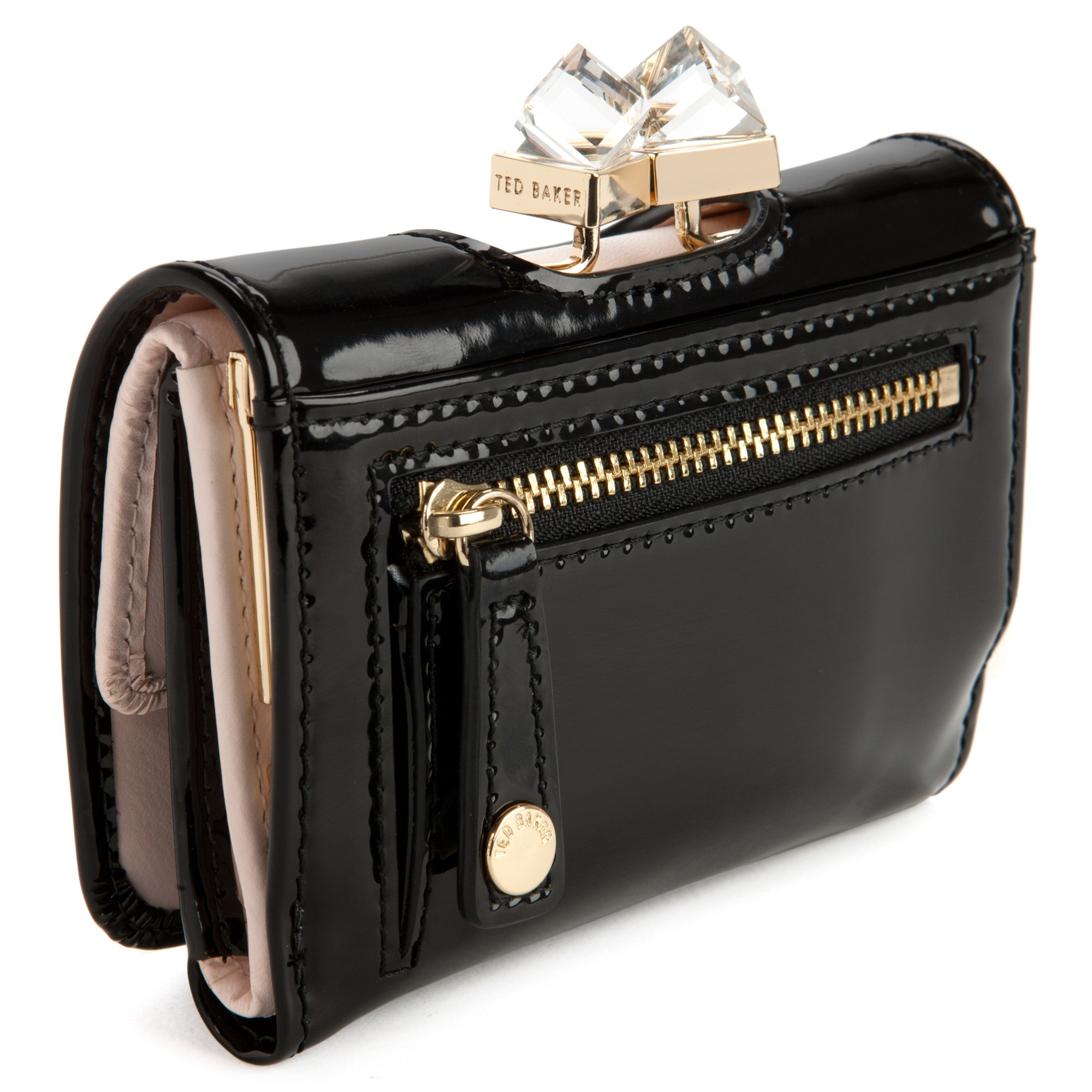 05ce2827b8e956 Ted Baker Kryssi Small Patent Leather Crystal Frame Purse in Black ...