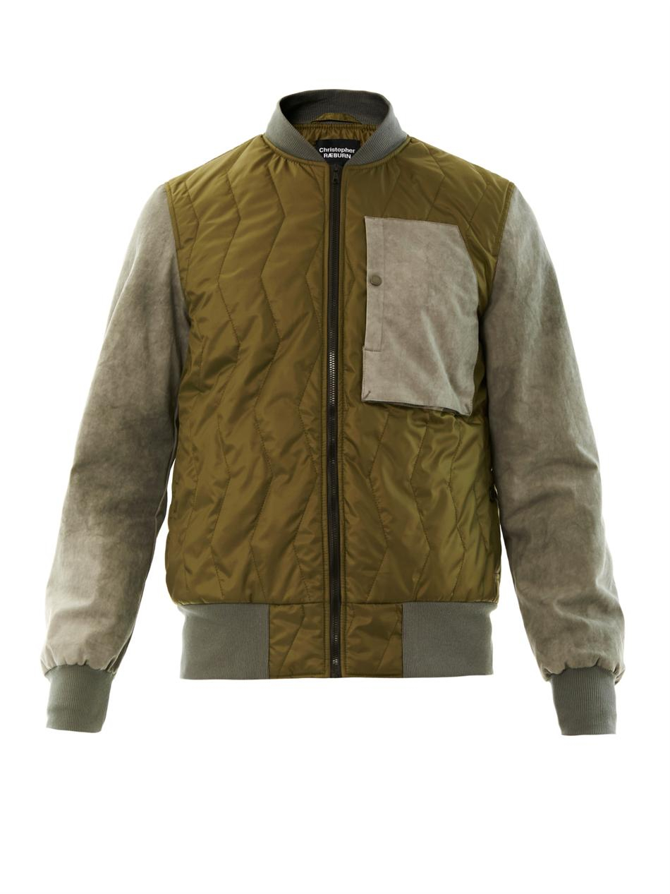 Christopher raeburn Contrast Sleeve Quilted Bomber Jacket for Men ...