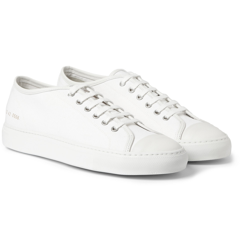 Lyst - Common projects Tournament Leathertrimmed Canvas Sneakers in White for Men