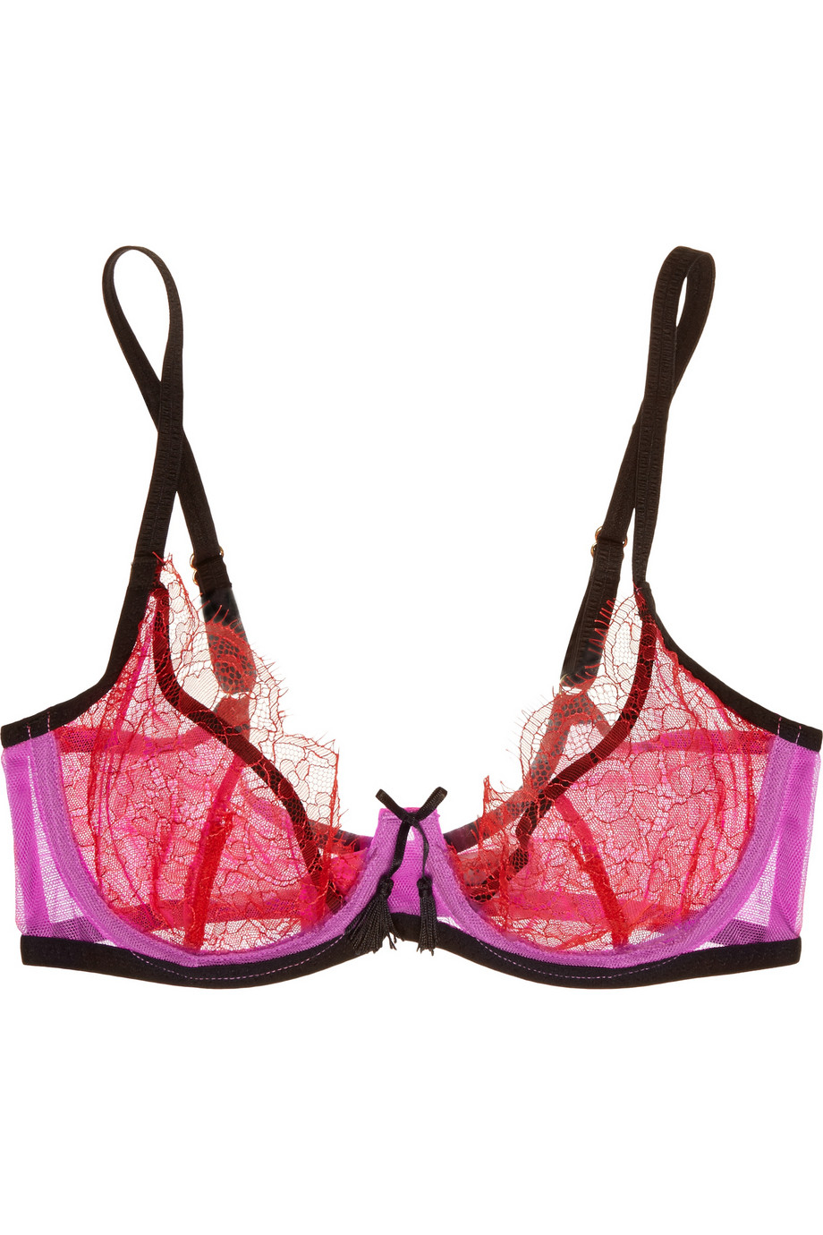 Lyst - Agent Provocateur Megan Lace And Stretch-Tulle Plunge Bra in Pink a69c12b7a