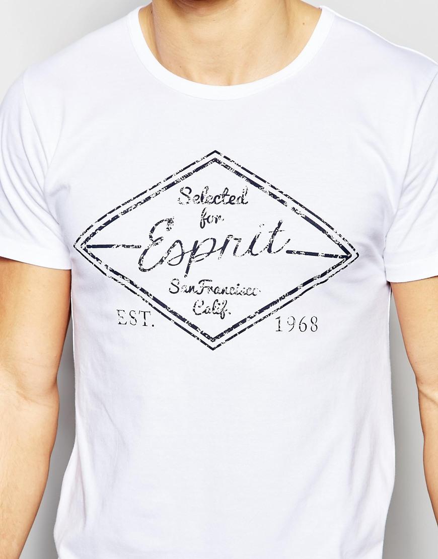 esprit t shirt in slim fit in white for men lyst. Black Bedroom Furniture Sets. Home Design Ideas