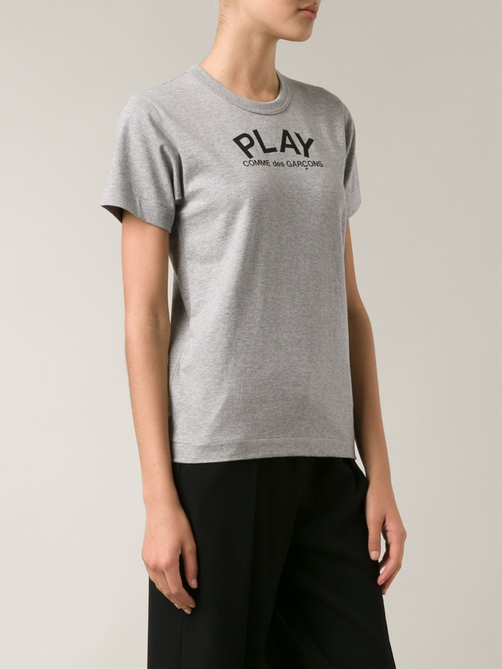 Play Comme Des Gar Ons Heart Print T Shirt In Gray Grey
