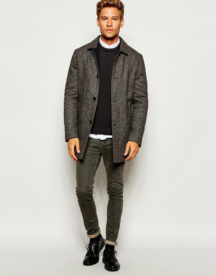 Selected Elected Mosto Wool Mix Smart Coat in Black for Men | Lyst