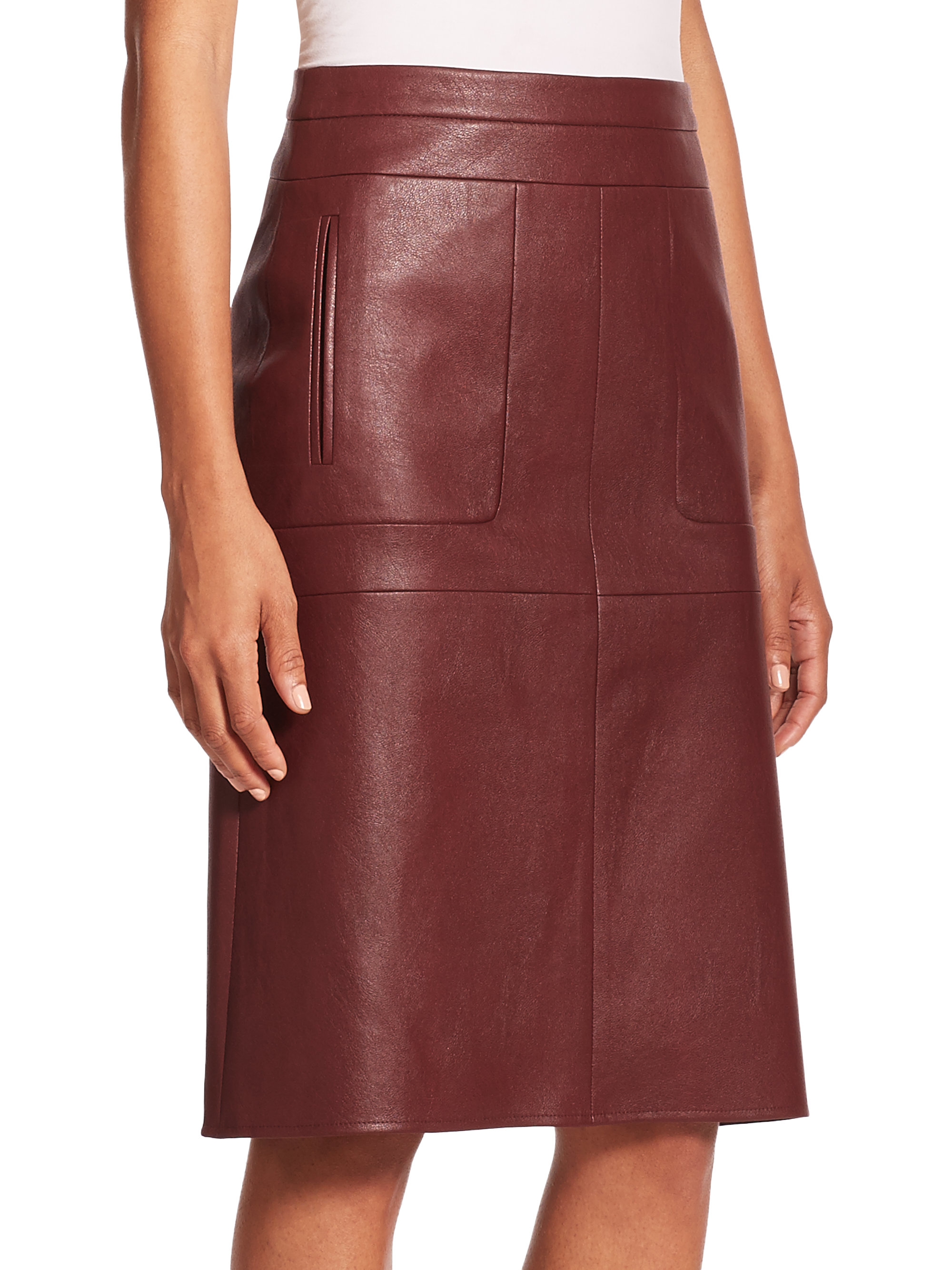 c22dd9aca Leather Midi Skirt With Pockets