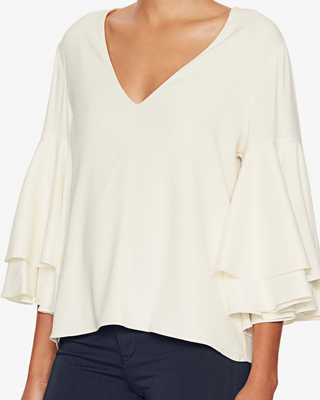 Lyst Alexis Ruffled Bell Sleeve Blouse In White